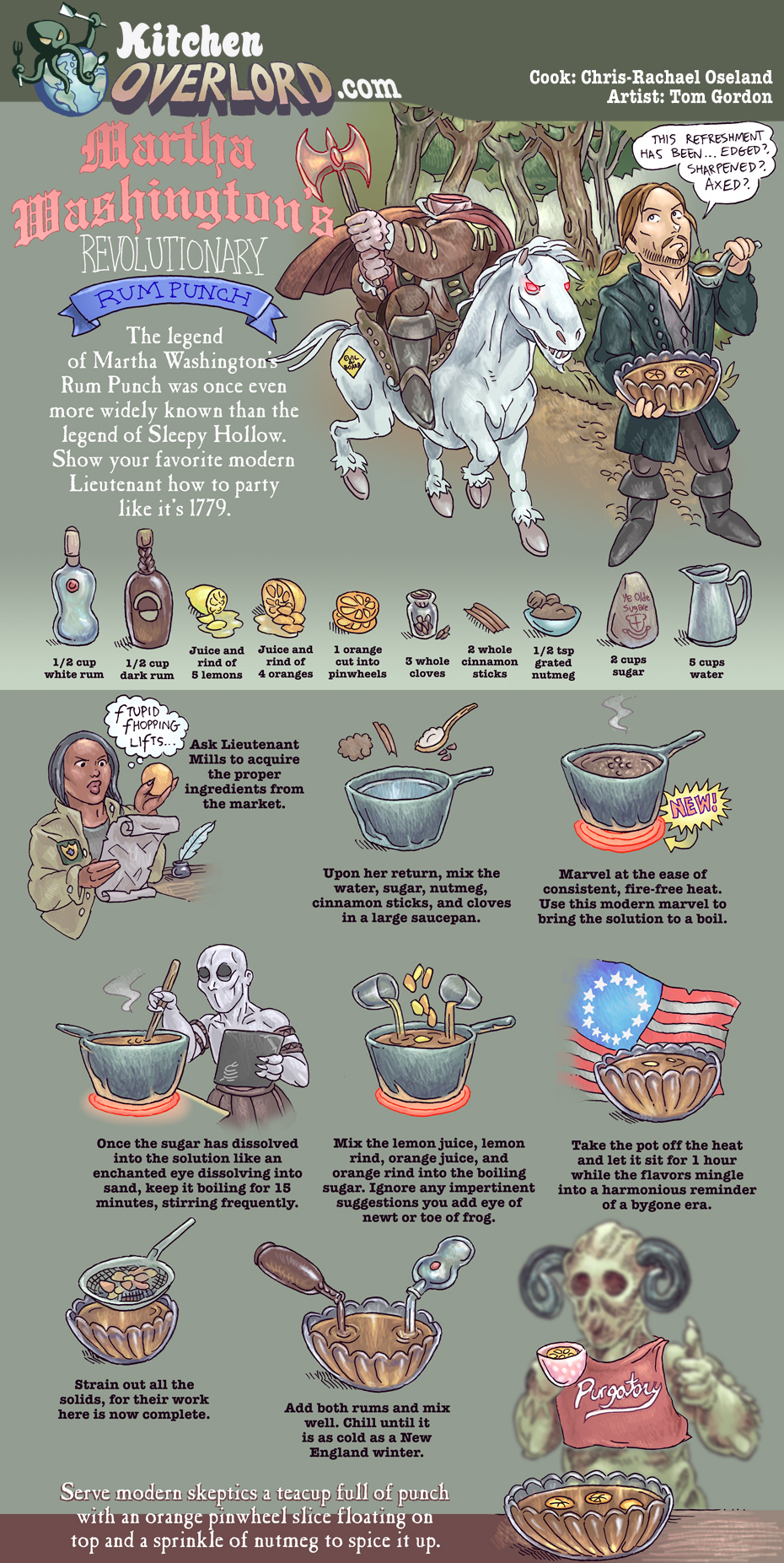 Kitchen Overlord Edible Art - Martha Washington's Revolutionary Rum Punch Inspired by Sleepy Hollow