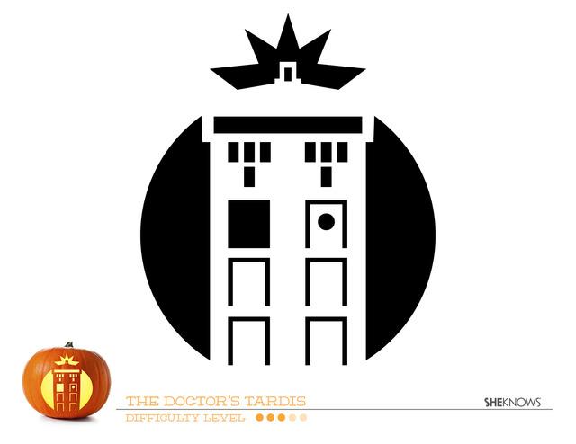 Whovian printables TARDIS pumpkin stencil
