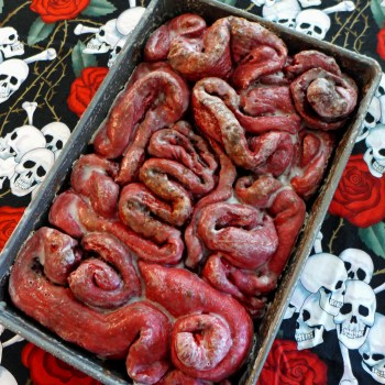 Red Velvet Cinnamon Roll Guts from Kitchen Overlord's Dead Delicious Cookbook