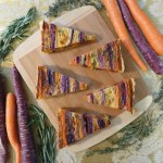 Striped Carrot Tart from Kitchen Overlord, cut