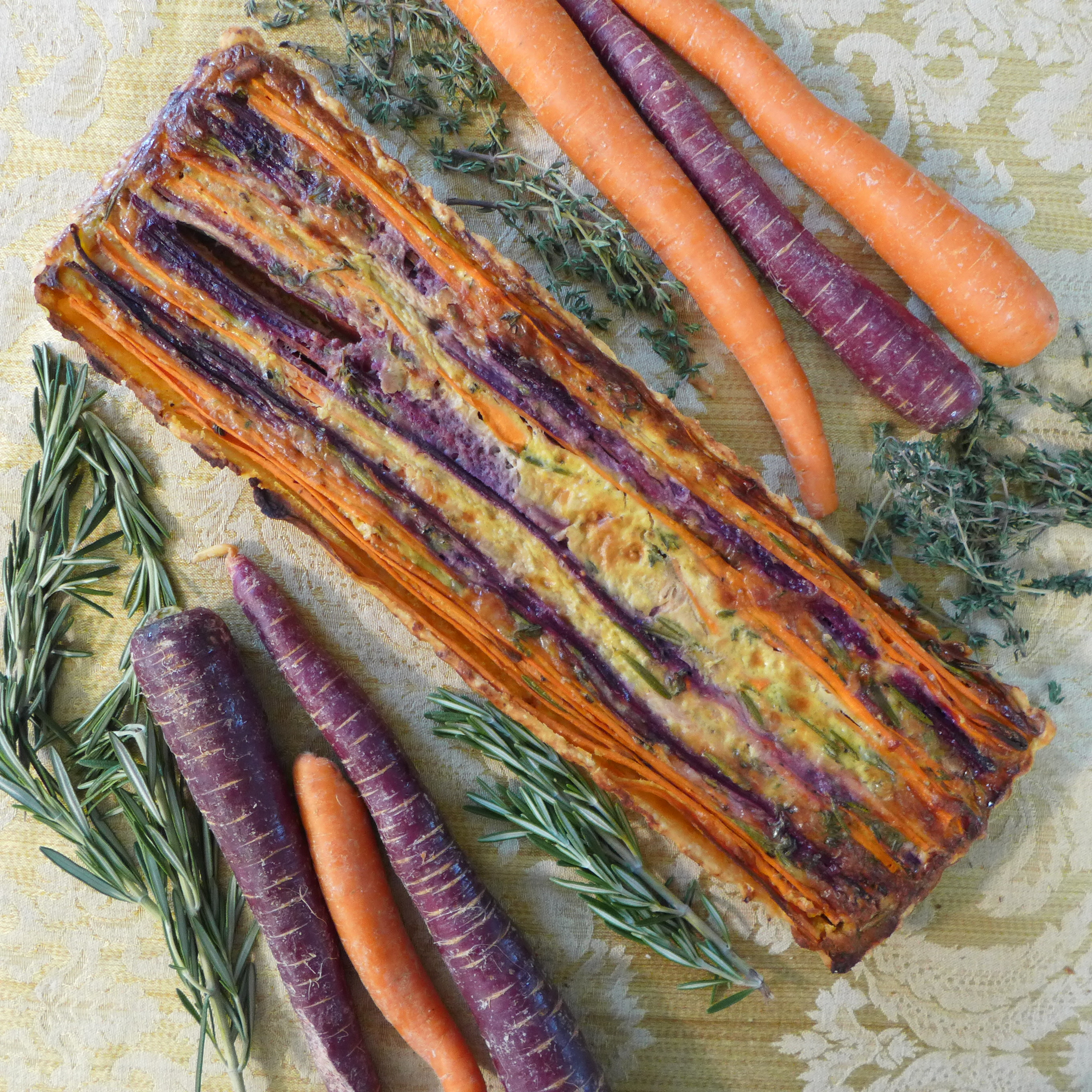 Striped Carrot Tart from Kitchen Overlord, whole