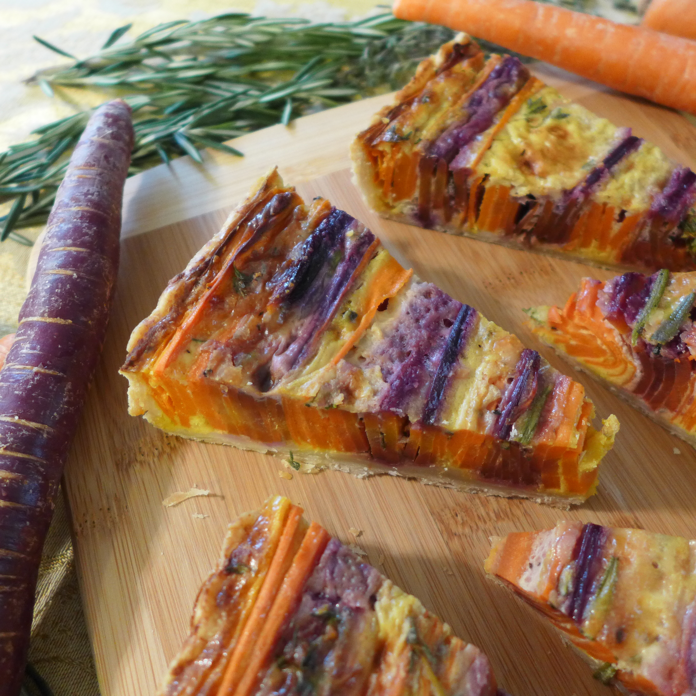 Striped Carrot Tart from Kitchen Overlord, Sliced 2