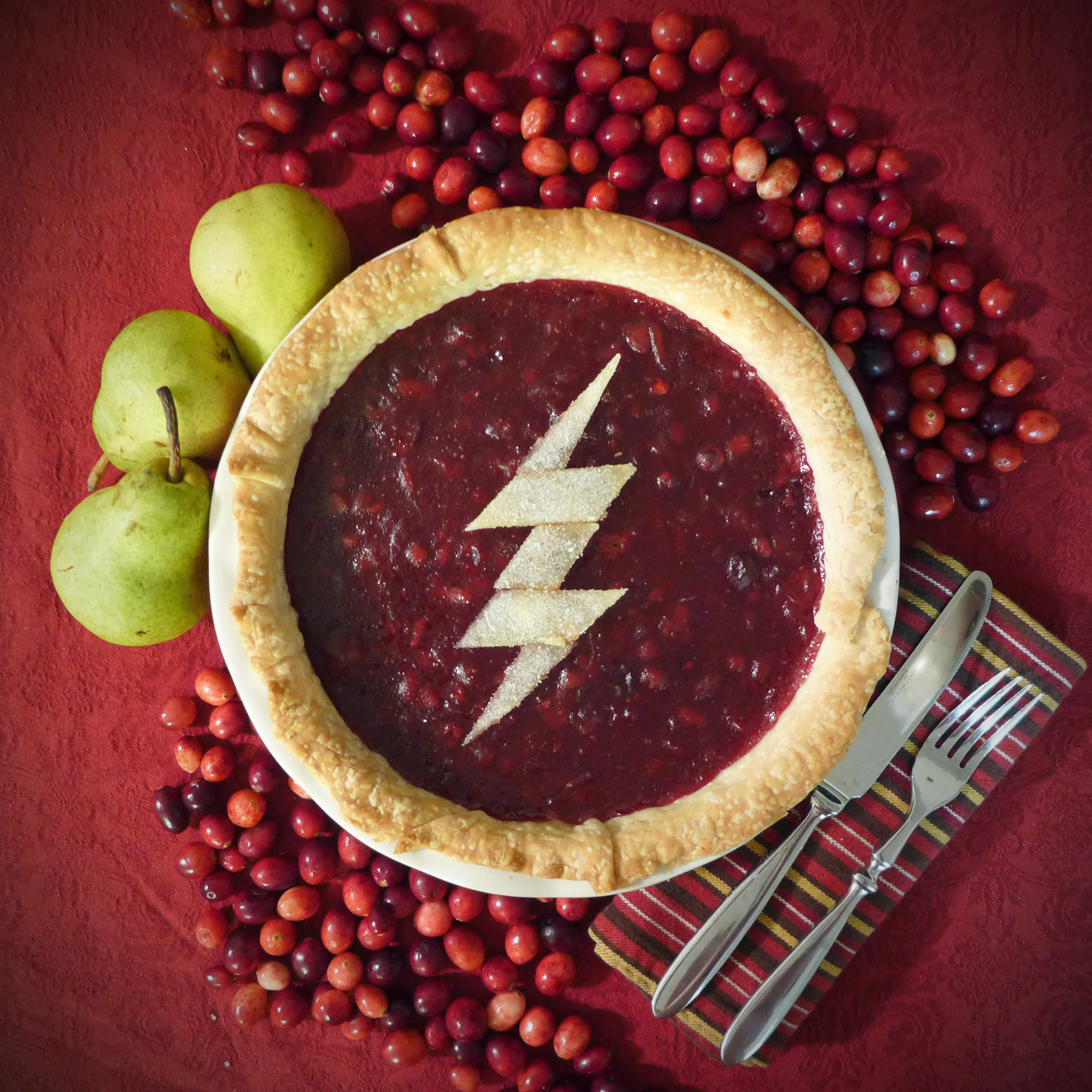 CW The Flash Cranberry, Pear and Crystallized Ginger Pie by Kitchen Overlord